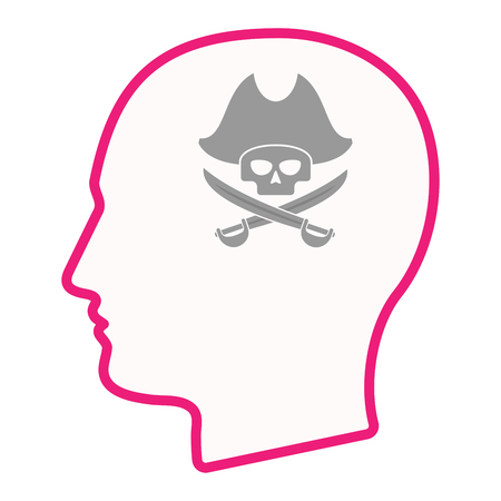 adult bones: Illustration of an isolated male head silhouette icon with a pirate skull