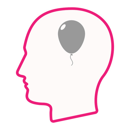 Illustration of an isolated male head silhouette icon with a balloon