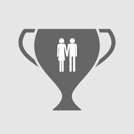 heterosexual couple: Illustration of an isolated award cup icon with a heterosexual couple pictogram Illustration