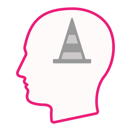 Illustration of an isolated male head silhouette icon with a road cone