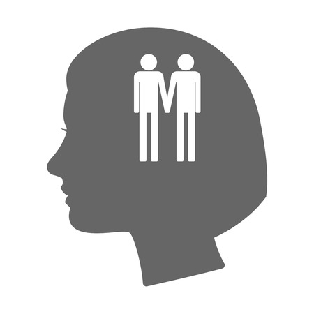 gay couple: Illustration of an isolated female head silhouette icon with a gay couple pictogram