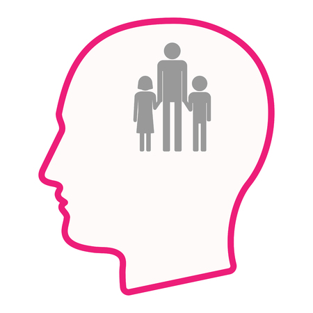 single family: Illustration of an isolated male head silhouette icon with a male single parent family pictogram