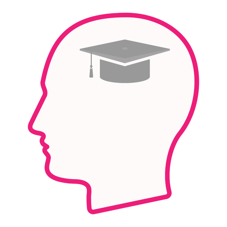 Illustration of an isolated male head silhouette icon with a graduation cap Illustration