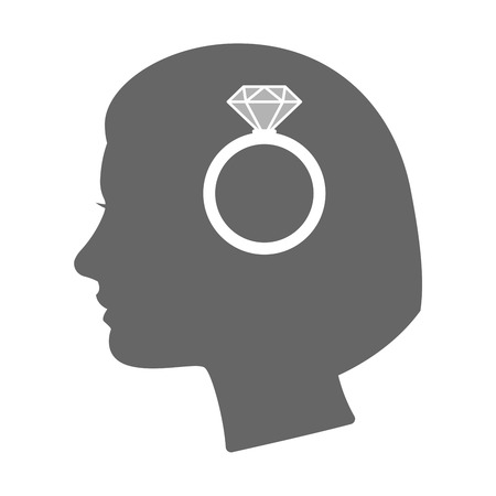 engagement silhouette: Illustration of an isolated female head silhouette icon with an engagement ring