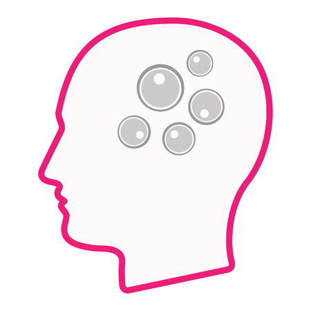 insemination: Illustration of an isolated male head silhouette icon with oocytes