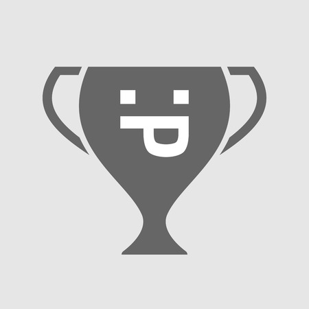 sacar la lengua: Illustration of an isolated award cup icon with a sticking out tongue text face
