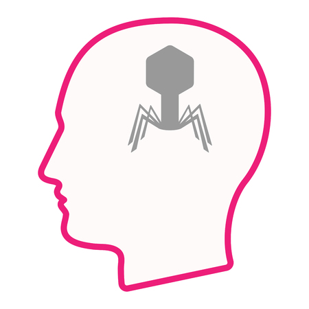 Illustration of an isolated male head silhouette icon with a virus