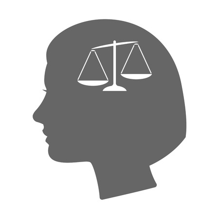 unbalanced: Illustration of an isolated female head silhouette icon with  an unbalanced weight scale