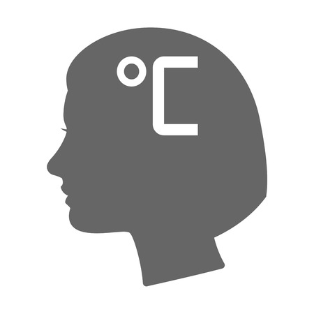 profile measurement: Illustration of an isolated female head silhouette icon with  a celsius degree sign