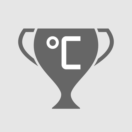 measuring cup: Illustration of an isolated award cup icon with  a celsius degree sign