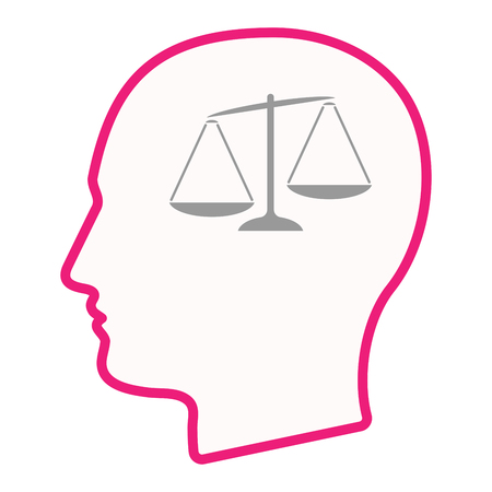 injustice: Illustration of an isolated male head silhouette icon with  an unbalanced weight scale Illustration