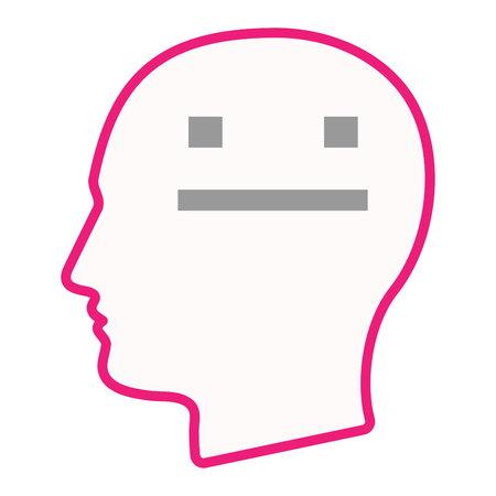 emotionless: Illustration of an isolated male head silhouette icon with a emotionless text face Illustration