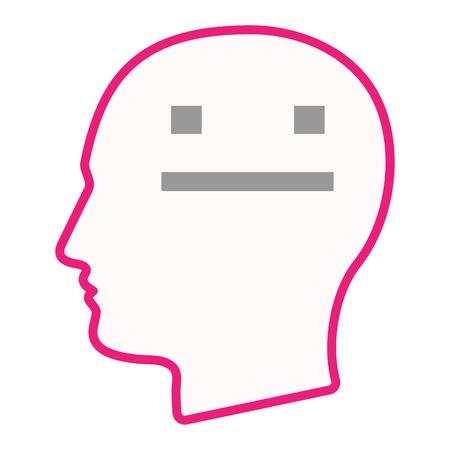 Ilustración de un icono de la cabeza silueta masculina aislado con una cara de texto sin emociones
