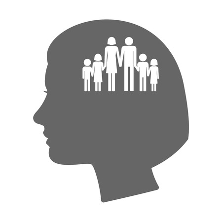 large family: Illustration of an isolated female head silhouette icon with a large family  pictogram