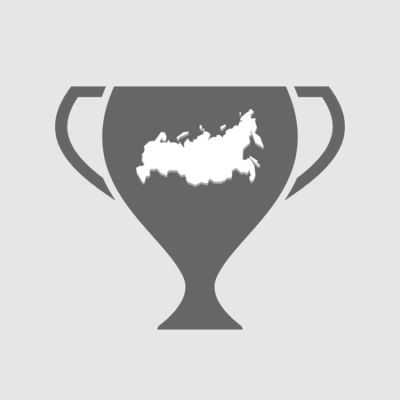 cup of russia: Illustration of an isolated award cup icon with  a map of Russia Illustration