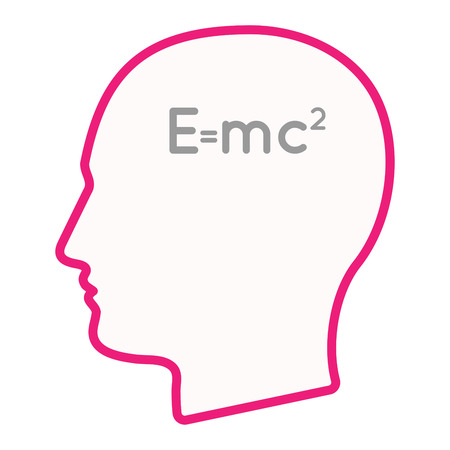 theory: Illustration of an isolated male head silhouette icon with the Theory of Relativity formula