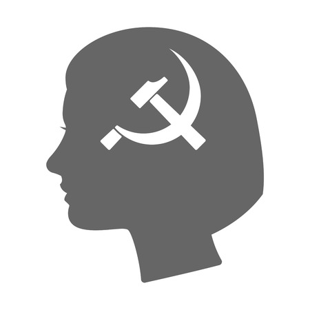 socialism: Illustration of an isolated female head silhouette icon with  the communist symbol
