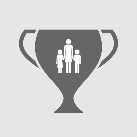 single parent: Illustration of an isolated award cup icon with a female single parent family pictogram Illustration