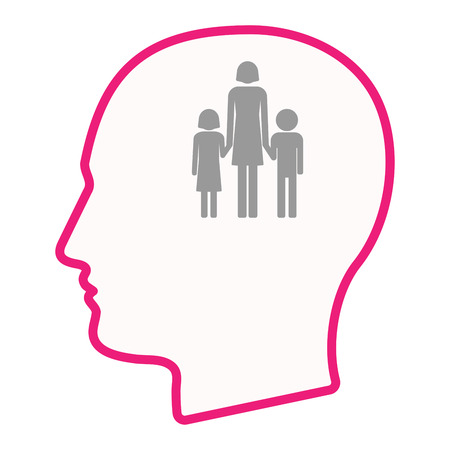 single parent: Illustration of an isolated male head silhouette icon with a female single parent family pictogram