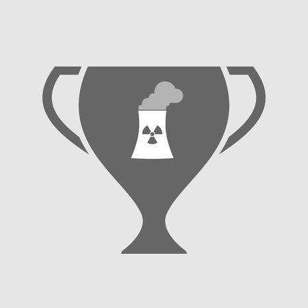 cooling tower: Illustration of an isolated award cup icon with a nuclear power station Illustration