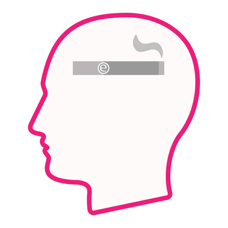 vaporizer: Illustration of an isolated male head silhouette icon with an electronic cigarette