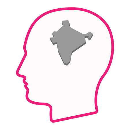 Illustration of an isolated male head silhouette icon with  a map of India