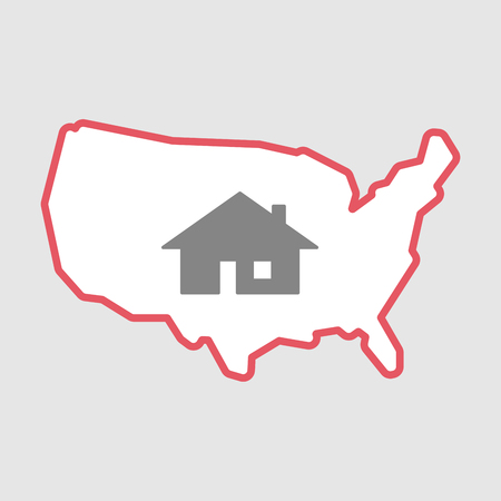 Illustration of an isolated line art  USA map icon with a house Illustration