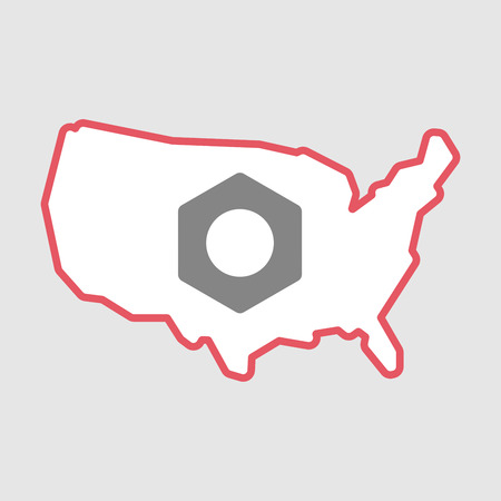 bolts and nuts: Illustration of an isolated line art  USA map icon with a nut