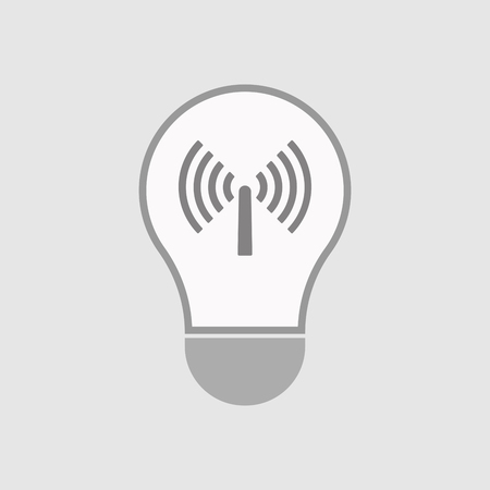 Illustration of an isolated line art  light bulb icon with an antenna