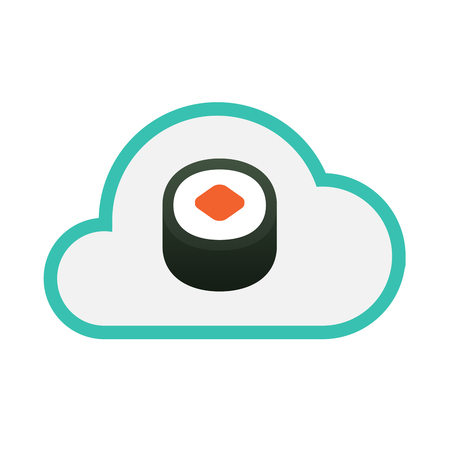 Illustration of an isolated line art  cloud icon with a piece of sushi maki Illustration