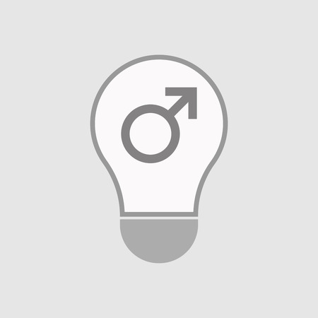 andropause: Illustration of an isolated line art  light bulb icon with a male sign Illustration