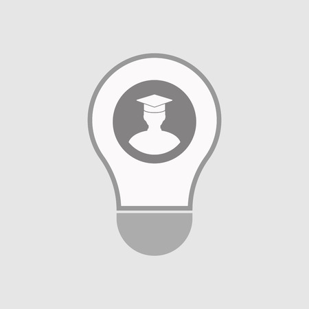 light classroom: Illustration of an isolated line art  light bulb icon with a student