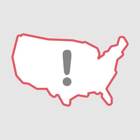 Illustration d'un art de ligne isolé Icône de carte USA avec un signe d'exclamarion