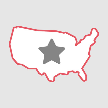 Illustration of an isolated line art  USA map icon with a star Illustration