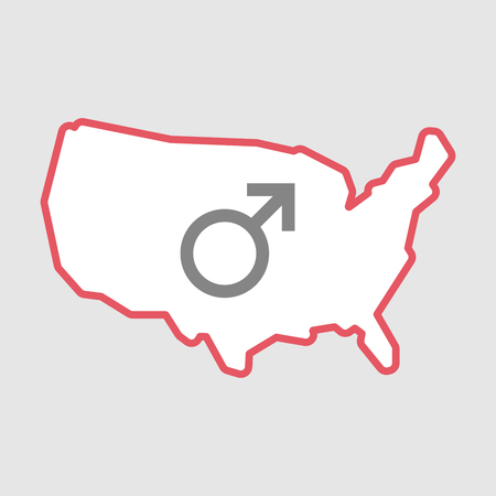 andropause: Illustration of an isolated line art  USA map icon with a male sign Illustration