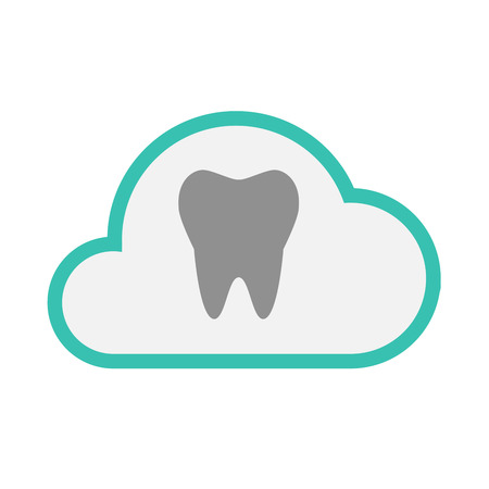 comunicacion oral: Illustration of an isolated line art  cloud icon with a tooth Vectores