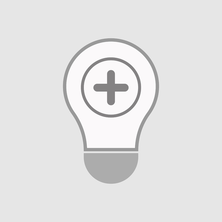 subtract: Illustration of an isolated line art  light bulb icon with a sum sign Illustration
