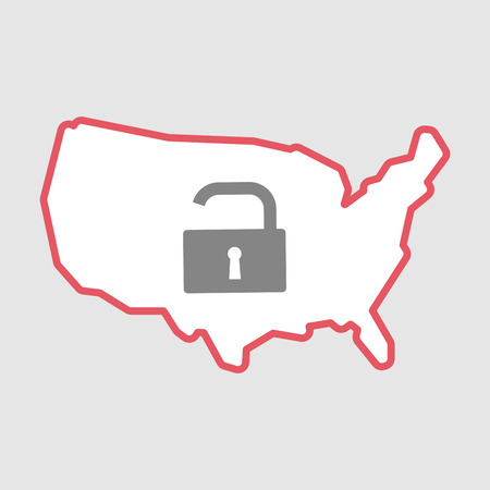 Illustration of an isolated line art  USA map icon with an open lock pad
