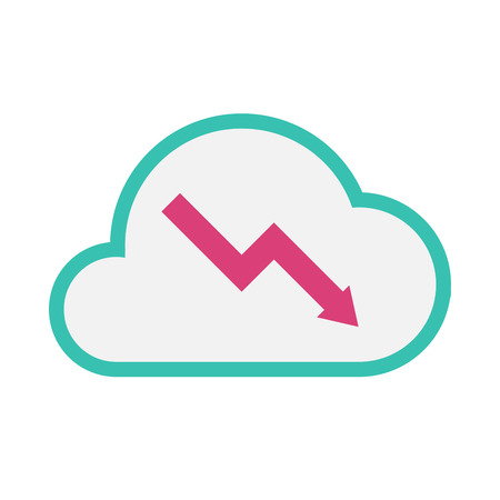 Illustration of an isolated line art  cloud icon with a descending graph Illustration