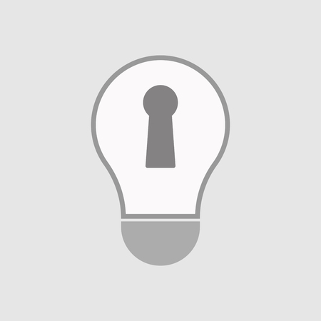 key hole: Illustration of an isolated line art  light bulb icon with a key hole Illustration