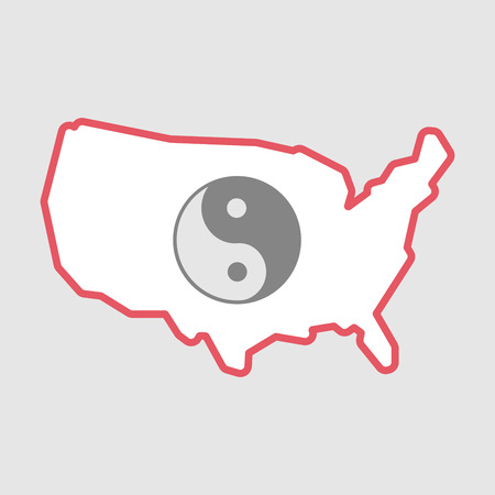 Illustration of an isolated line art  USA map icon with a ying yang