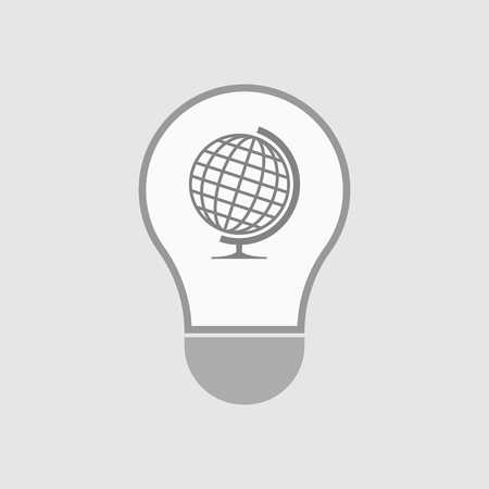 Illustration of an isolated line art  light bulb icon with  a table world globe Illustration