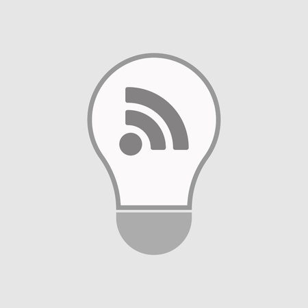 really simple syndication: Illustration of an isolated line art  light bulb icon with an RSS sign