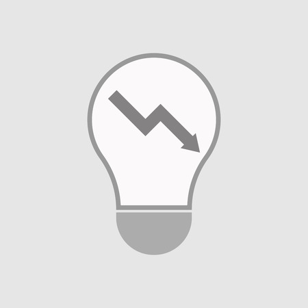 descending: Illustration of an isolated line art  light bulb icon with a descending graph