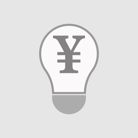 yen sign: Illustration of an isolated line art  light bulb icon with a yen sign