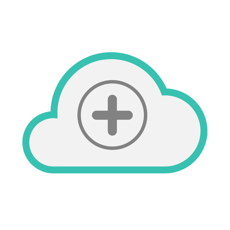 Illustration of an isolated line art  cloud icon with a sum sign