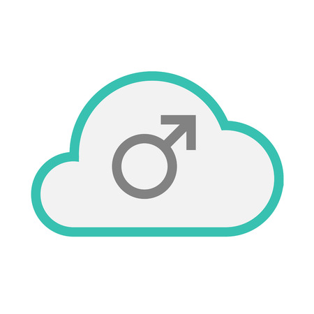 andropause: Illustration of an isolated line art  cloud icon with a male sign