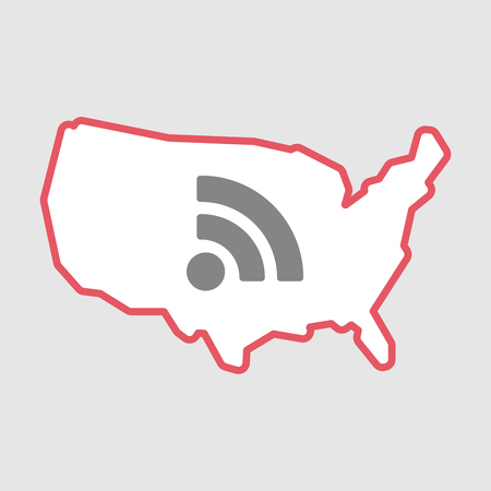 Illustration of an isolated line art  USA map icon with an RSS sign