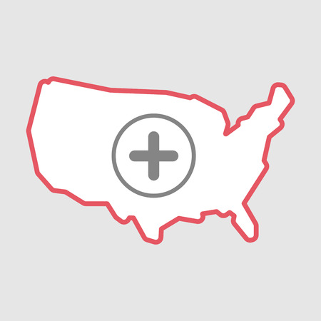 Illustration of an isolated line art  USA map icon with a sum sign Illustration