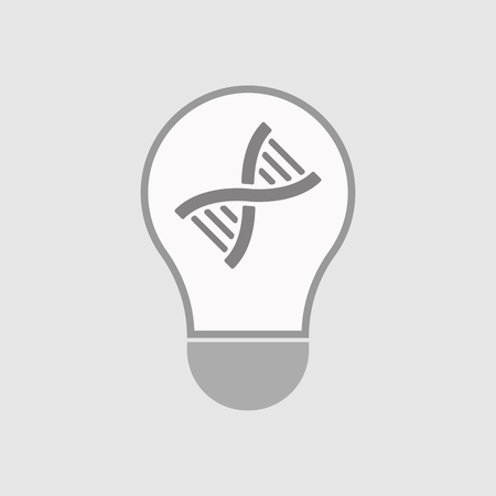 transgenic: Illustration of an isolated line art  light bulb icon with a DNA sign